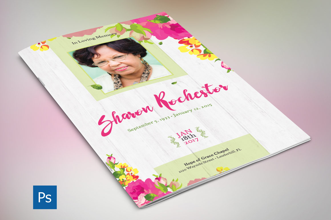 Floral Funeral Program Photoshop Obituary Templates