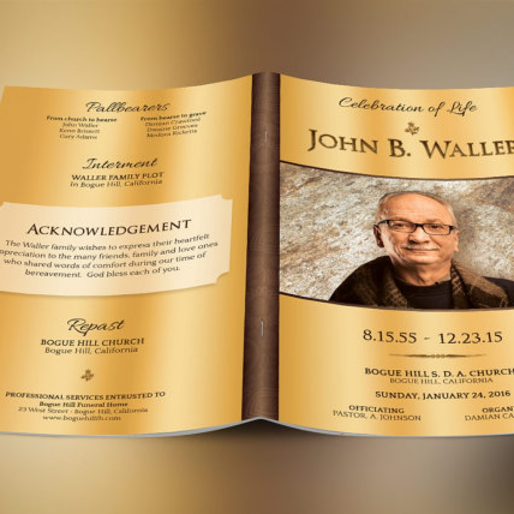Solid Gold Funeral Program Photoshop Obituary Templates