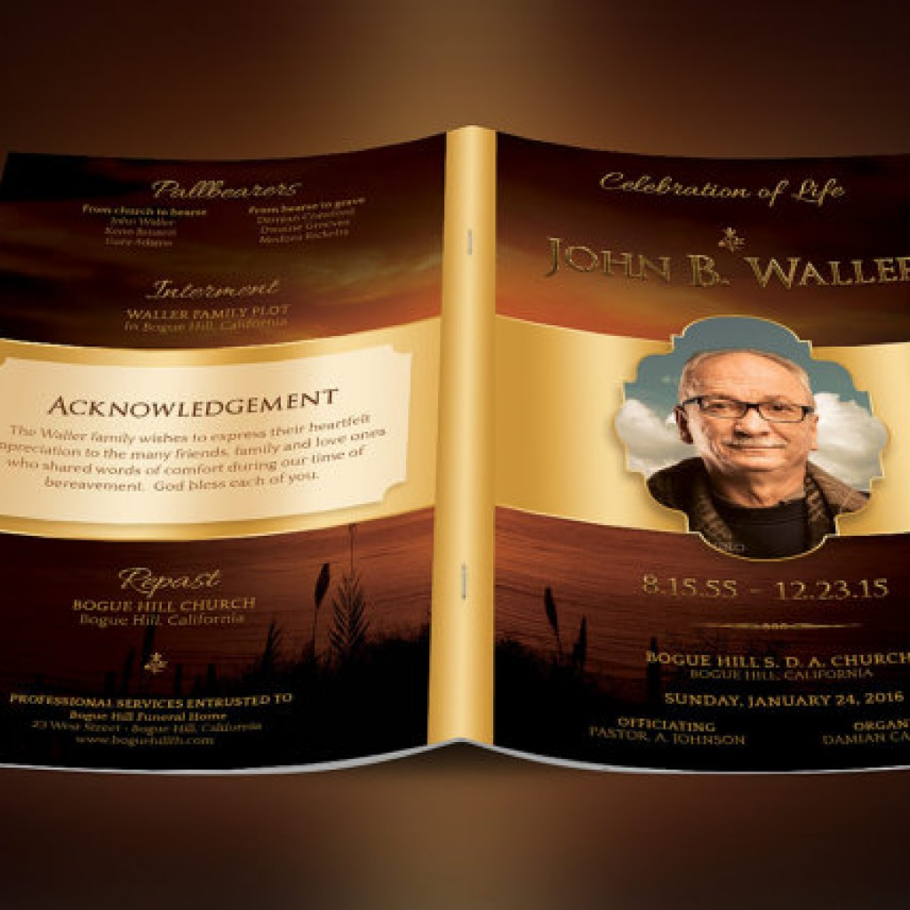 Sunset Funeral Program Photoshop Obituary Templates