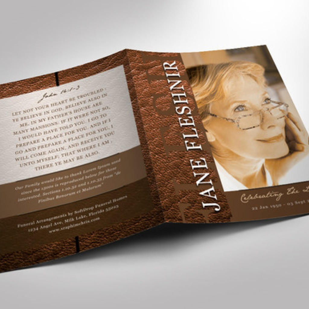 Leather Funeral Program Photoshop Obituary Templates