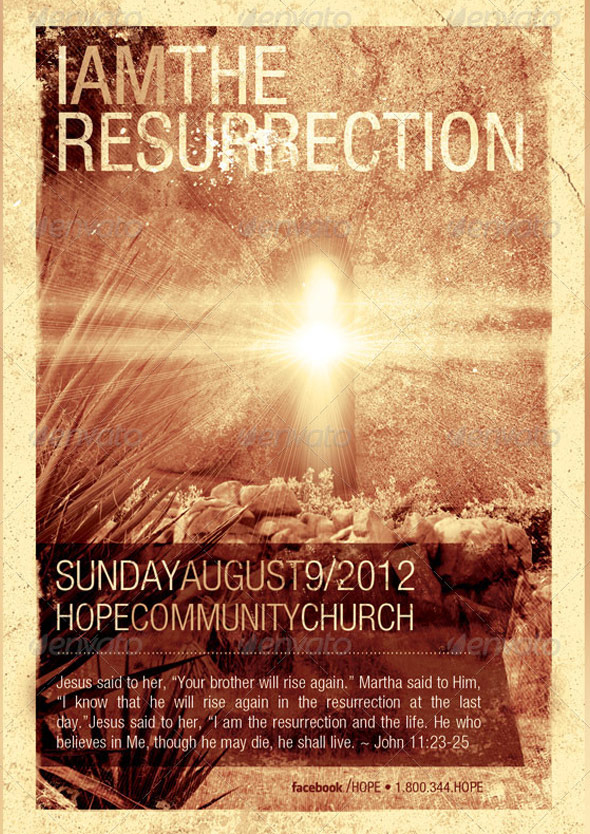 I Am The Resurrection Church Flyer Template