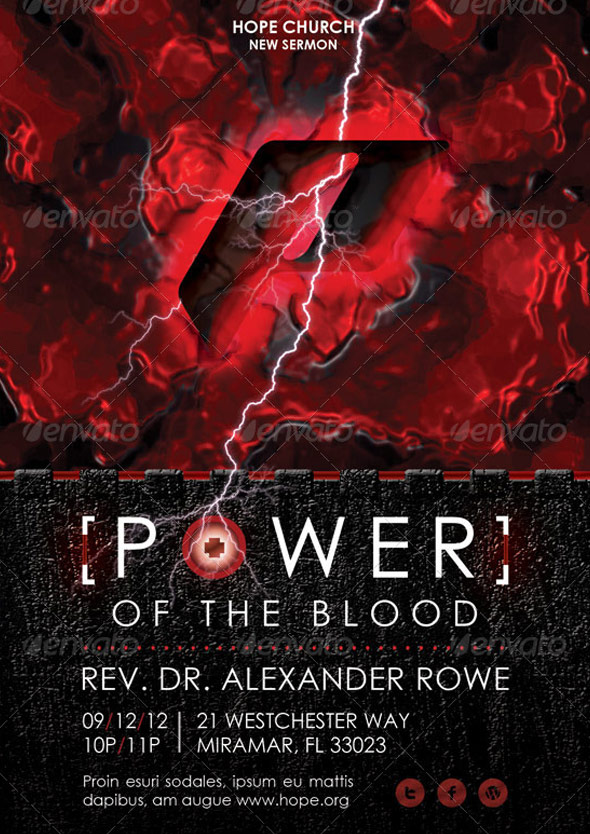 Power of The Blood Church Flyer and CD Template