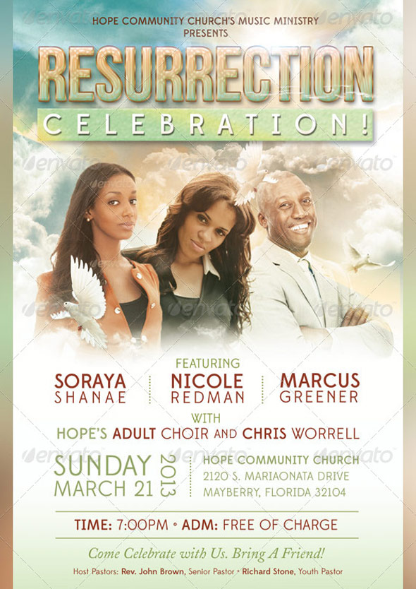 Resurrection Celebration Church Flyer Template