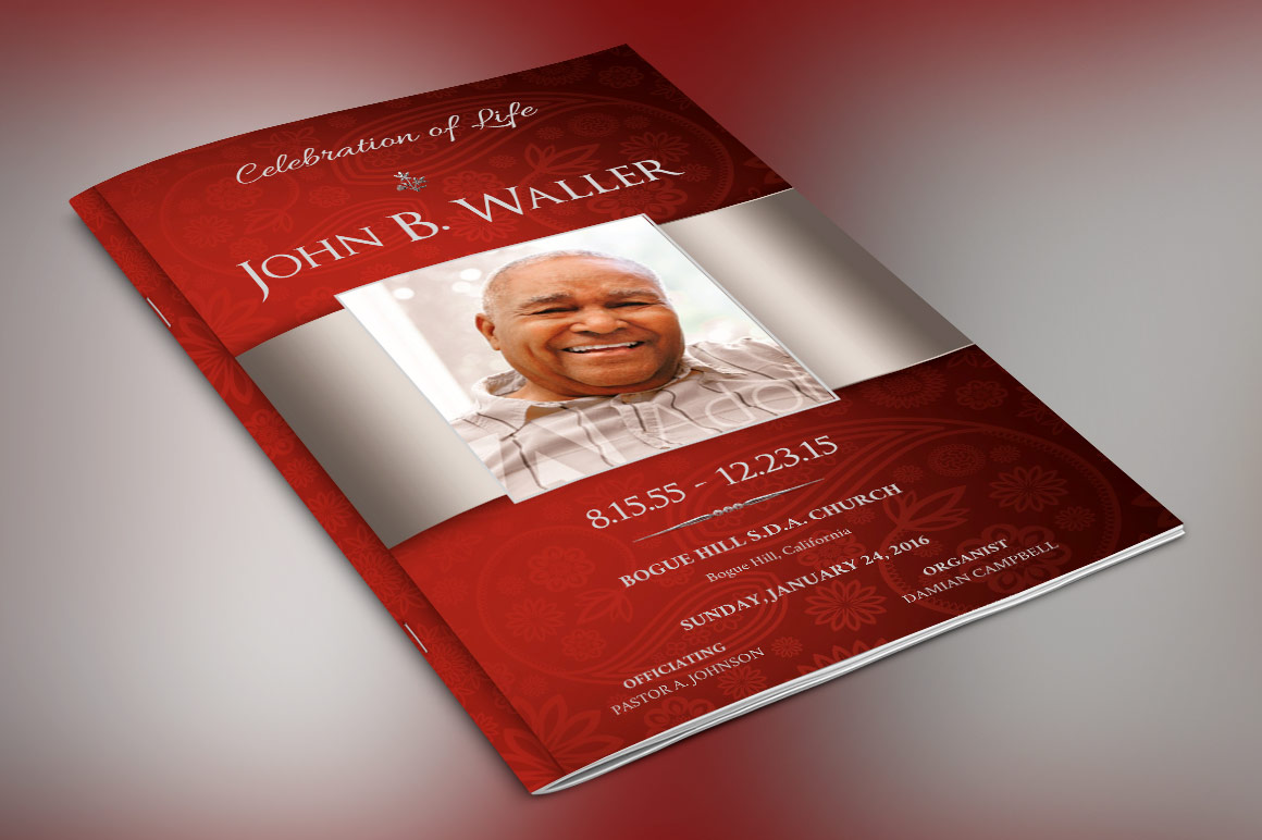 Burgundy Dignity Funeral Program Publisher Template