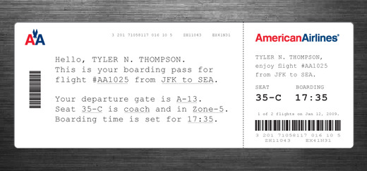 Design for a boarding pass that talks like a human