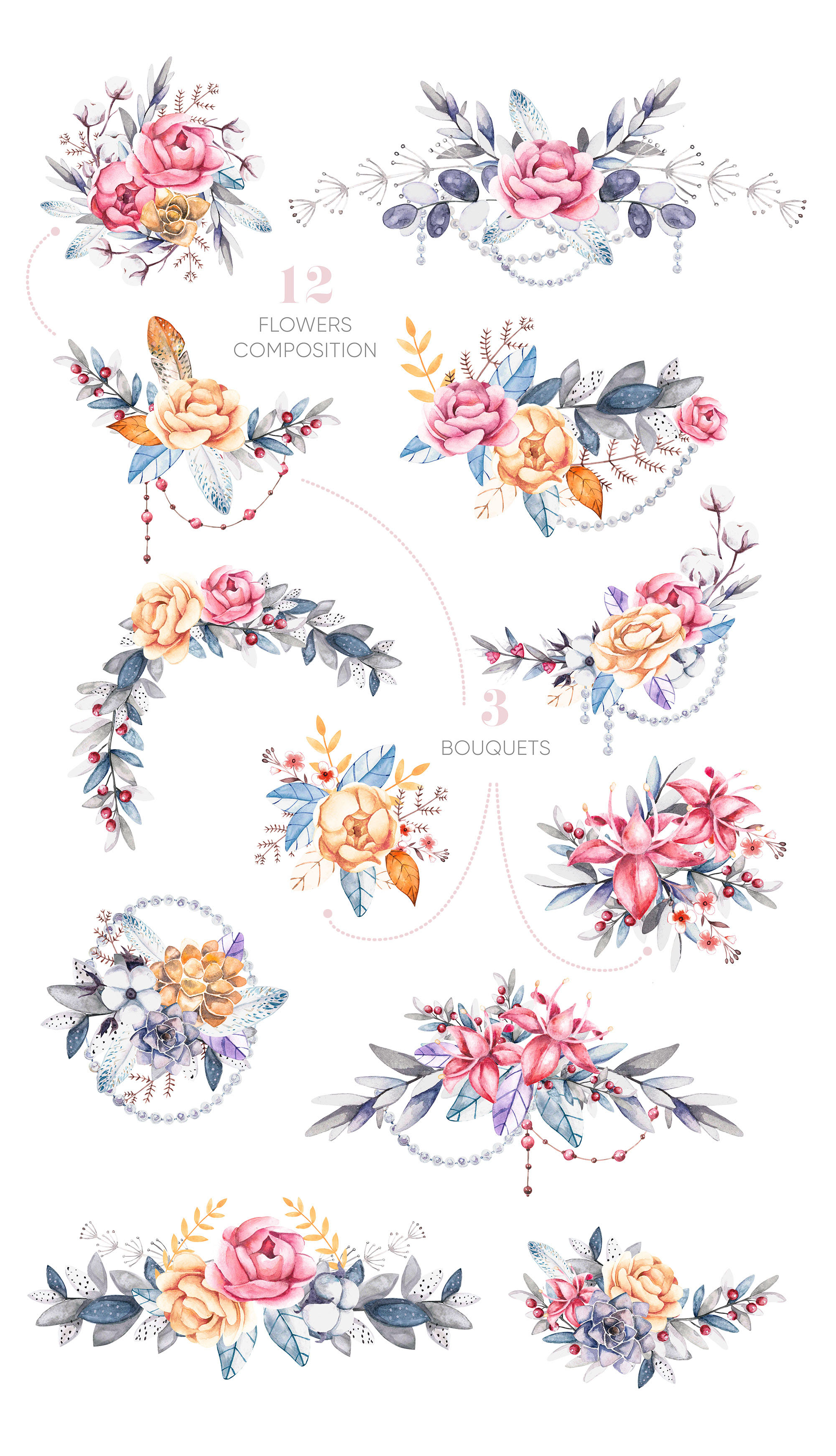 Watercolor Floral Clipart Elements and Compositions  FLORA