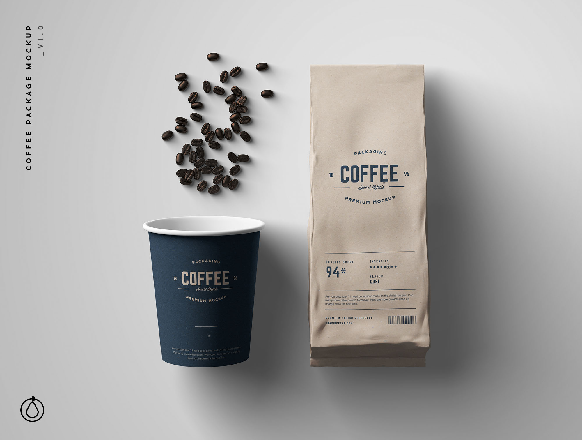 coffee bag psd mockups for your website, graphic. Coffee Package Mockup