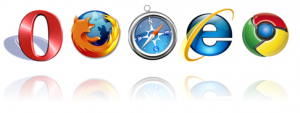 Browser icons: Opera, Firefox, Safari, Internet Explorer and  Chrome