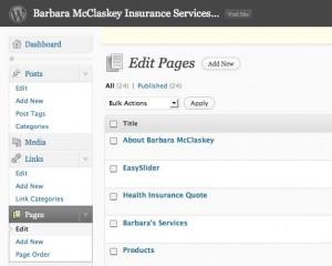 Screenshot of Pages Main Dialog in WordPress Dashboard