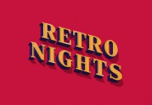Retro nights text effect