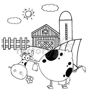 Cartoon Character Cow Different Color BW In Front Of