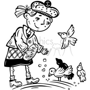 young girl feeding the birds clipart. Royalty-free clipart
