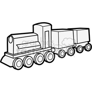 Royalty-Free Cartoon outline of wooden train illustration