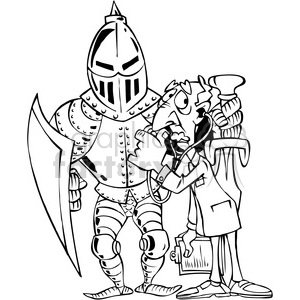 black and white cartoon knight in armor cartoon clipart