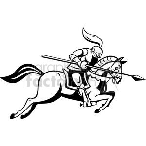 black and white knight with jousting lance riding a horse