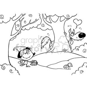 Royalty-Free Black and White Scene Of Little Red Riding