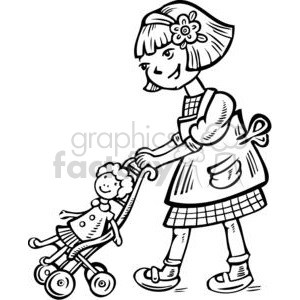 Royalty Free Girl Pushing Her Doll In A Stroller 381590