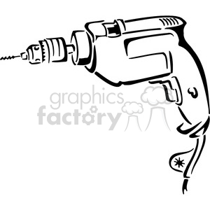 black and white electric drill clipart. Royalty-free