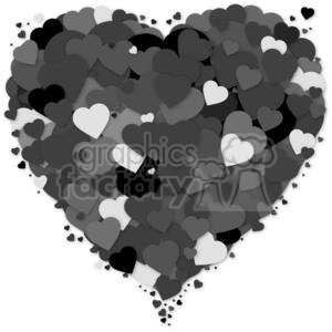 layers of black hearts lots of love clipart Royalty
