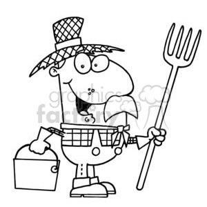 Royalty-Free black and white cartoon farmer in a straw hat