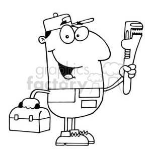 black and white cartoon paul the plumber guy clipart
