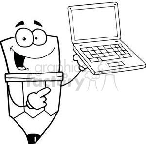 Pencil Cartoon Character Presents Laptop clipart. Royalty