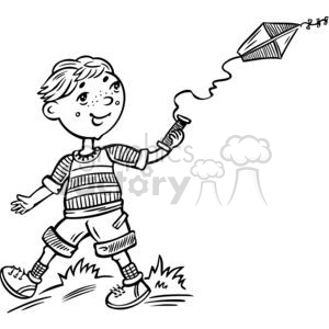 boy flying a kite clipart. Royalty-free clipart # 381554