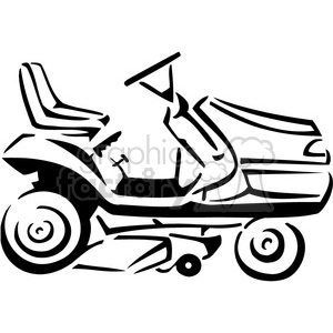 black and white riding lawnmower clipart. Royalty-free