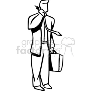 Black and white older woman going through a door clipart