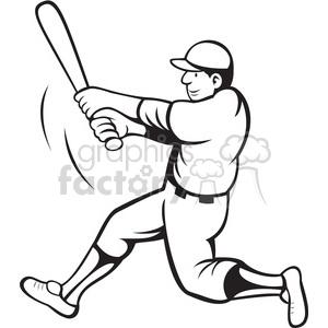 Baseball Batter Swinging Black White Clipart Clipart