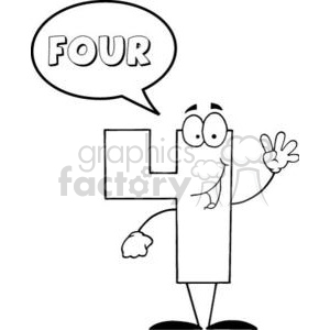 3452-Friendly-Number-4-Four-Guy-With-Speech-Bubble clipart