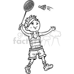 cartoon boy playing badminton cartoon clipart images and