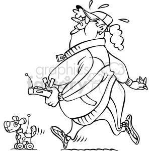 black and white large cartoon lady walking her robot dog
