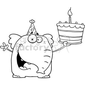 Royalty-Free A Happy Baby Elephant Holds It's 1st Birthday