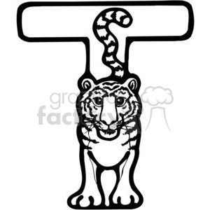 Letter T Tiger clipart. Royalty-free GIF, JPG, PNG, EPS