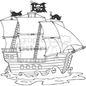 Royalty Free RF Clipart Illustration Pirate Ship Sailing