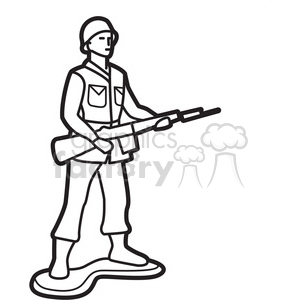 Royalty-Free outline of toy infantry soldier illustration