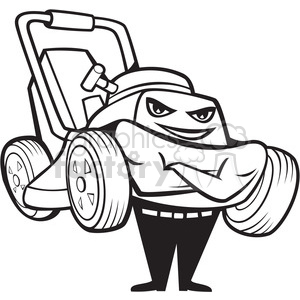Royalty-Free black and white happy lawnmower smiling front