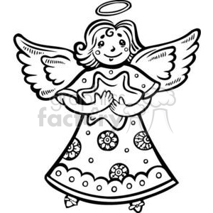 Christmas angel holding a star clipart. Royalty-free