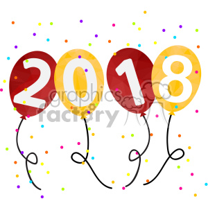2018 year party balloons vector