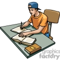 cartoon student studying at his desk