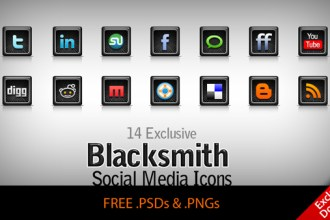 Blacksmith – 14 exclusive free Social Network / Media icons