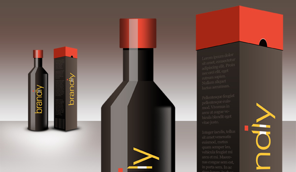 Package design (Part-1): Realistic wine bottle and box PSD download