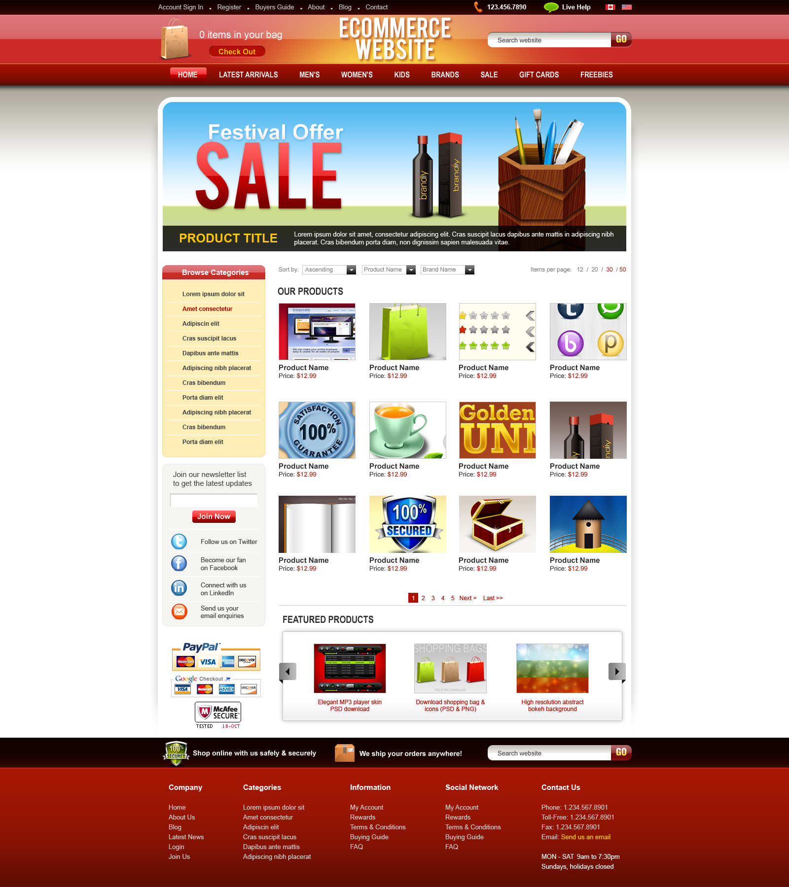 PSD ecommerce website template - GraphicsFuel