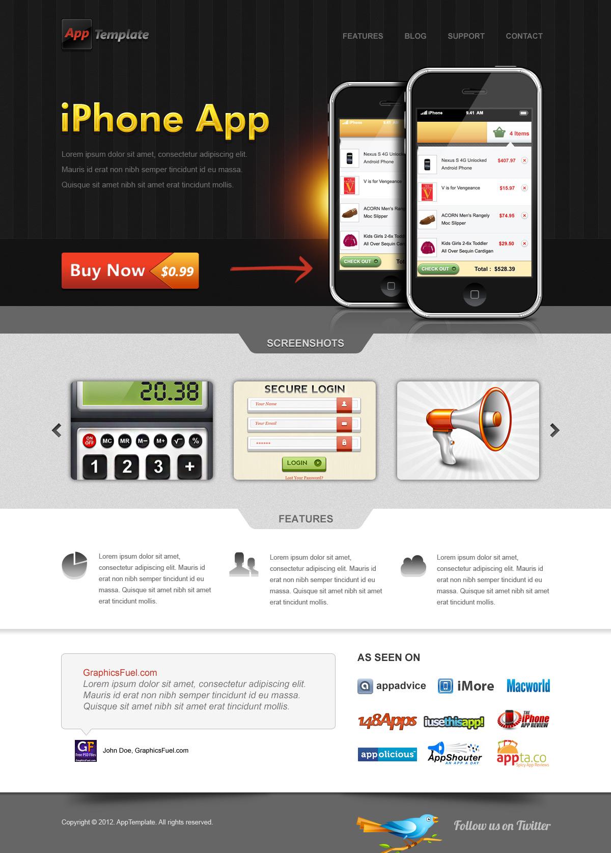 iphone app website template free