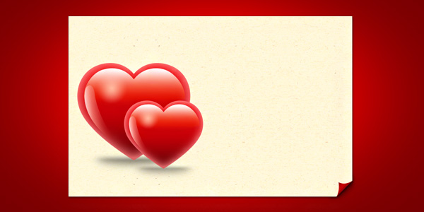Valentine hearts card template (PSD) - GraphicsFuel