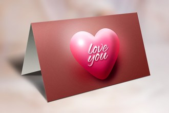 Valentine's Day Greeting Card and Mockup (PSD)