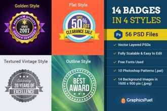14 Badges in 4 Styles: 56 Vector PSDs & More