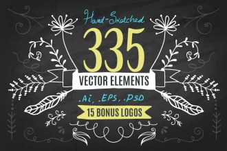 Hand-Drawn Vector Elements Kit & 15 Bonus Logos – Vol.1