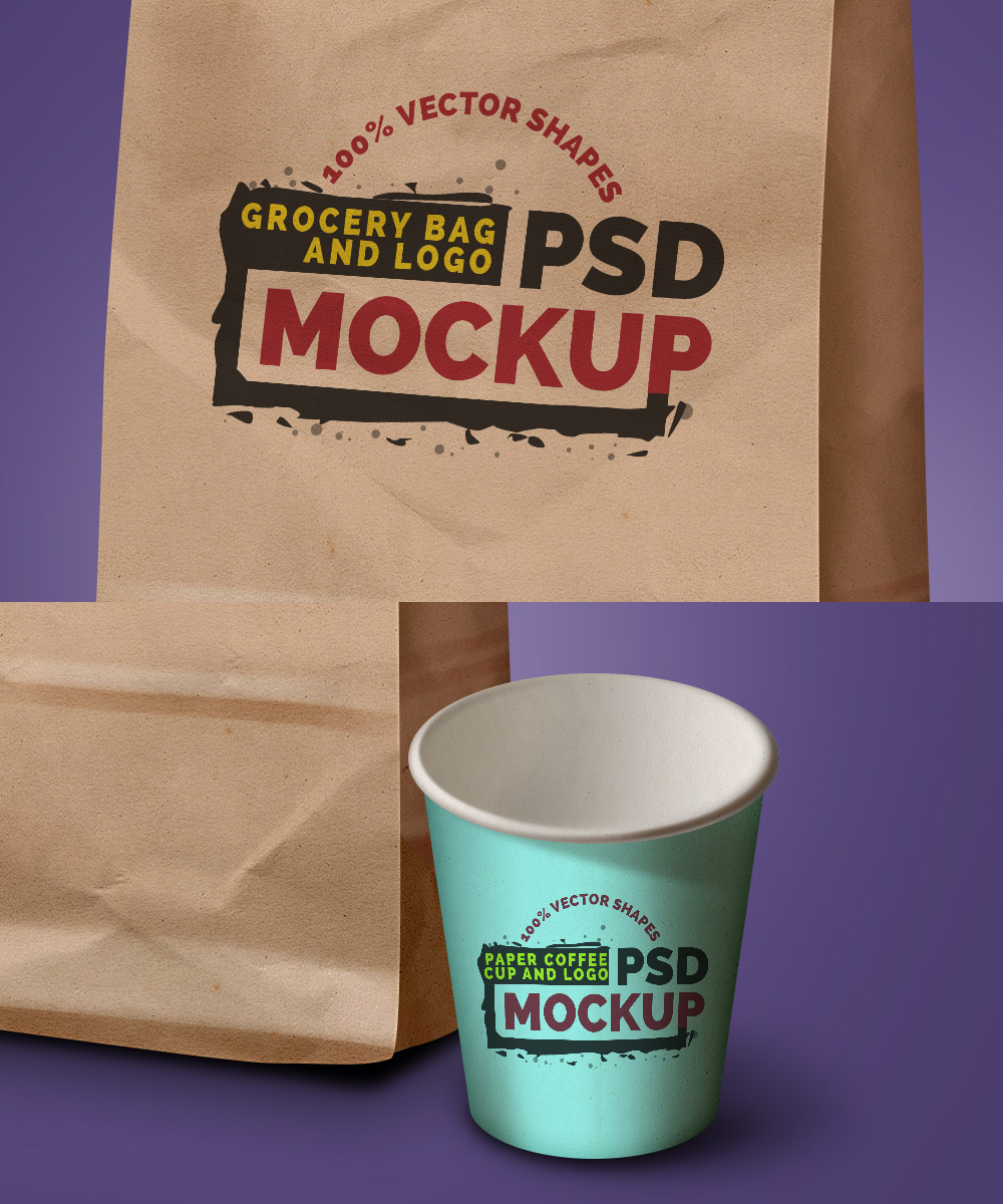 grocery-bag-coffee-cup-mockups-view